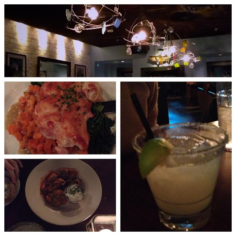 clockwise: ambiance @ Highland Kitchen, elderflower margarita, buffalo brussel sprouts, & my delicious pan roasted chicken!