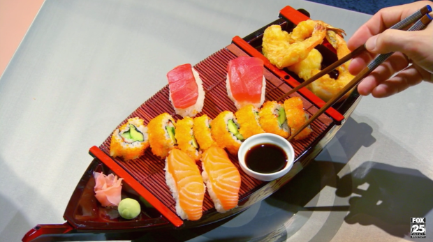 Ayla & Jimmy's excellent duplicate of the sushi boat looks so delicious!