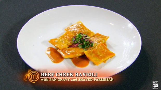 Andrew's ravioli has a problem: the meat is undercooked.  The pasta is delicious, though.