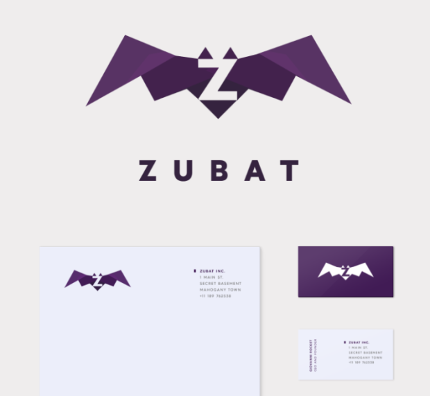 Zubat comes with mock business cards & letterhead.  Click through  to see the address-- Mahogany Town!