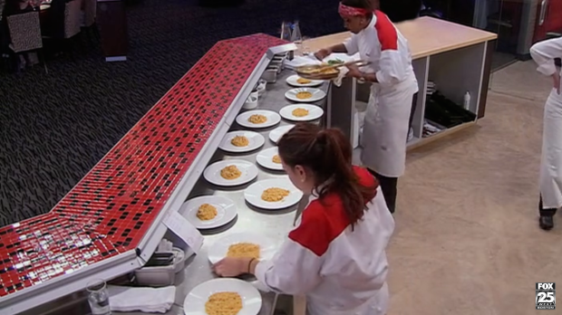 Michelle and Alison serve up Red's risotto.