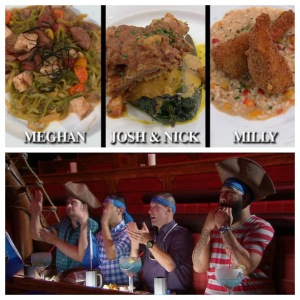 Top: the winning dishes.  Bottom: the men enjoy their pirate adventure dinner!  Milly makes such a good pirate.